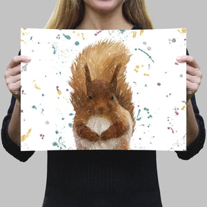 """Ellis"" The Red Squirrel Landscape A4 Unframed Art Print - Andy Thomas Artworks"