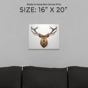"""The Stag"" Small Canvas Print"