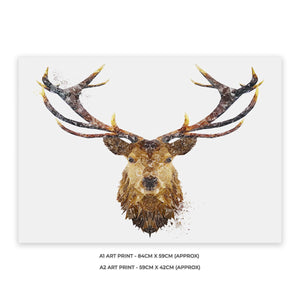 """The Stag"" A2 Unframed Art Print - Andy Thomas Artworks"