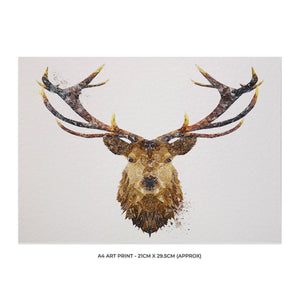 """The Stag"" A4 Unframed Art Print - Andy Thomas Artworks"