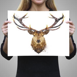 """The Stag"" A3 Unframed Art Print - Andy Thomas Artworks"