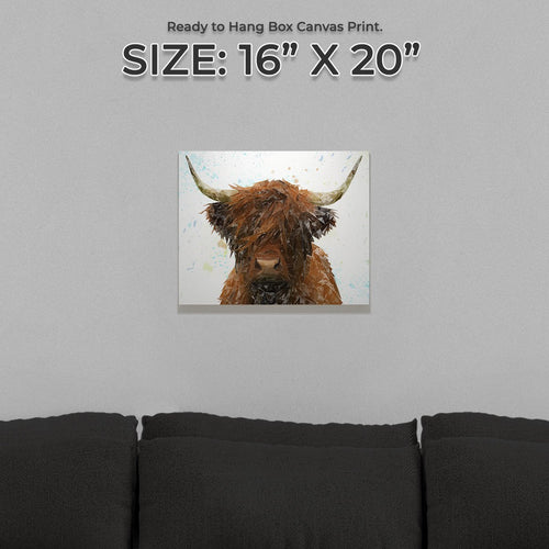 """The Highland"" Highland Cow Small Canvas Print"