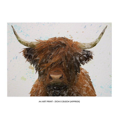 """The Highland"" Highland Cow A4 Unframed Art Print"