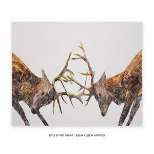 """The Showdown"" Rutting Stags 10"" x 8"" Unframed Art Print - Andy Thomas Artworks"