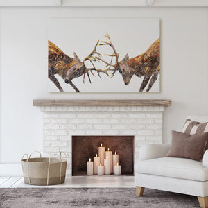 """The Showdown"" Rutting Stags Canvas Print - Andy Thomas Artworks"