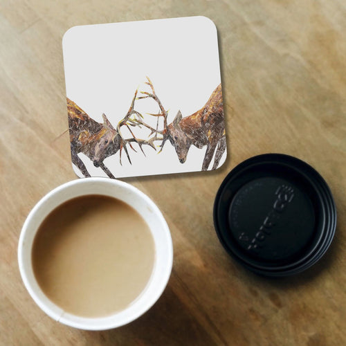 """The Showdown"" Rutting Stags Coaster"