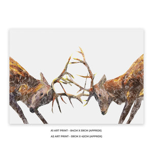 """The Showdown"" Rutting Stags A1 Unframed Art Print - Andy Thomas Artworks"