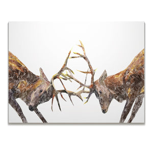 """The Showdown"" Rutting Stags Skinny Canvas Print"