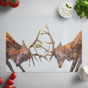 """The Showdown"" Rutting Stags Glass Worktop Saver"