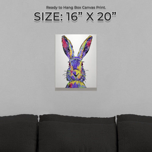 """The Colourful Hare"" Small Canvas Print"