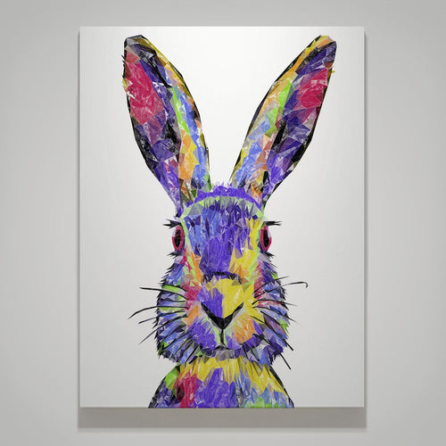 """The Colourful Hare"" Large Canvas Print"