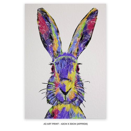 """The Colourful Hare"" A3 Unframed Art Print"