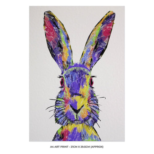 """The Colourful Hare"" A4 Unframed Art Print"