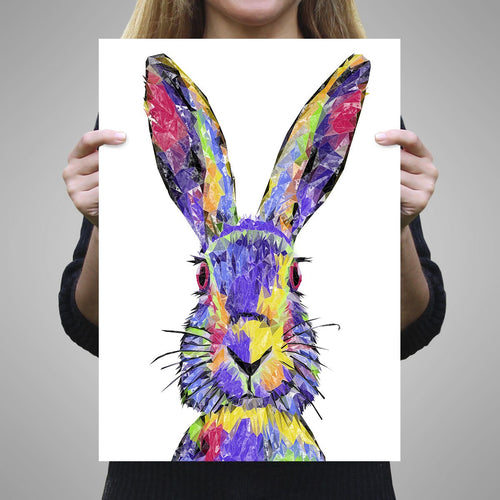 """The Colourful Hare"" A1 Unframed Art Print"