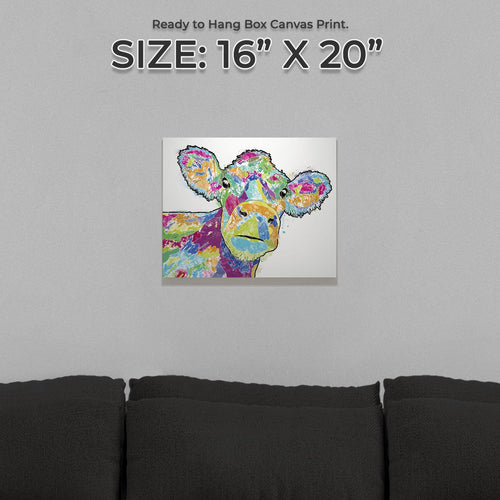 """Jemima"" The Colourful Cow Small Canvas Print"