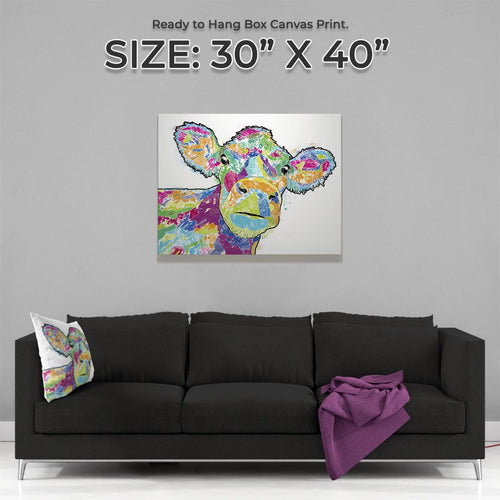 """Jemima"" The Colourful Cow Large Canvas Print"
