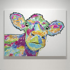 """Jemima"" The Colourful Cow Small Canvas Print - Andy Thomas Artworks"