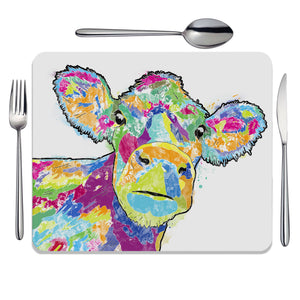 """Jemima"" The Colourful Cow Placemat - Andy Thomas Artworks"