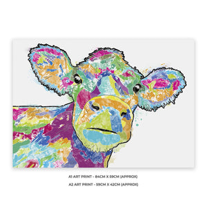 """Jemima"" The Colourful Cow A1 Unframed Art Print - Andy Thomas Artworks"