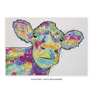 """Jemima"" The Colourful Cow A3 Unframed Art Print - Andy Thomas Artworks"