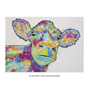 """Jemima"" The Colourful Cow A4 Unframed Art Print - Andy Thomas Artworks"