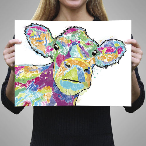 """Jemima"" The Colourful Cow A1 Unframed Art Print"