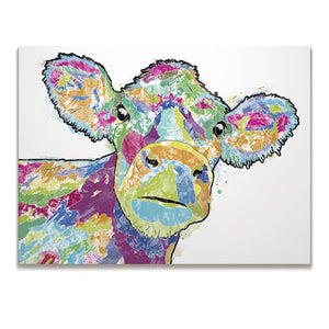 """Jemima"" The Colourful Cow Skinny Canvas Print - Andy Thomas Artworks"