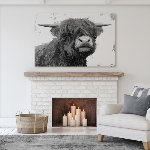 """Henry"" The Highland Bull (B&W) Massive Canvas Print"