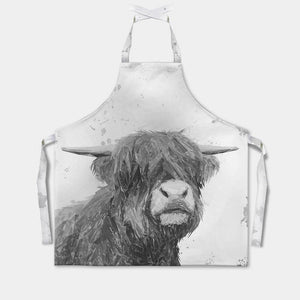 """Henry"" The Highland Bull (B&W) Apron - Andy Thomas Artworks"