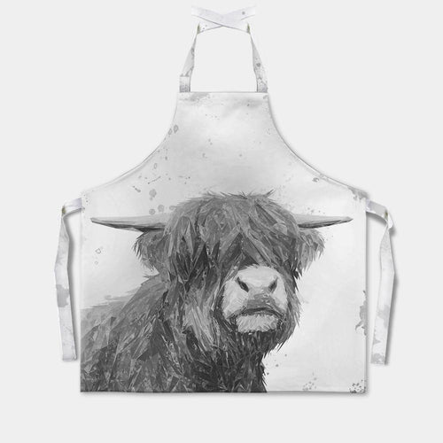 """Henry"" The Highland Bull (B&W) Apron"