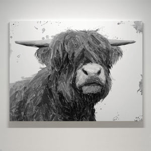 """Henry"" The Highland Bull (B&W) Small Canvas Print - Andy Thomas Artworks"