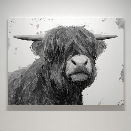 """Henry"" The Highland Bull (B&W) Small Canvas Print"
