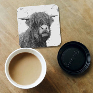 """Henry"" The Highland Bull (B&W) Coaster - Andy Thomas Artworks"