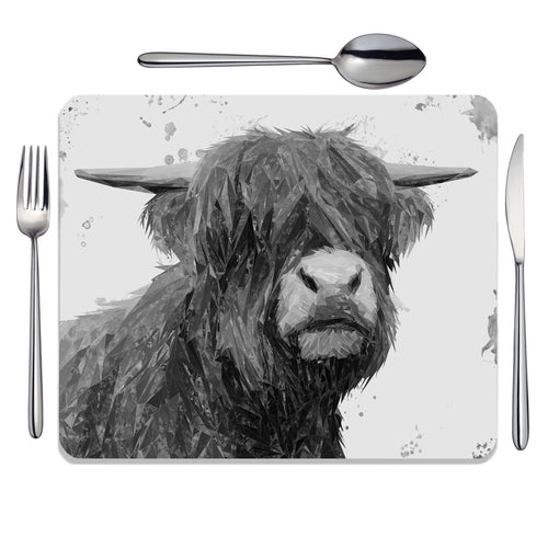"""Henry"" The Highland Bull (B&W) Placemat"