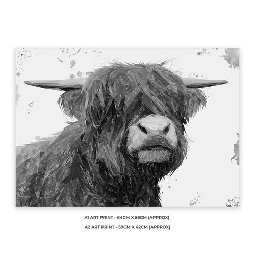 """Henry"" The Highland Bull (B&W) A2 Unframed Art Print"