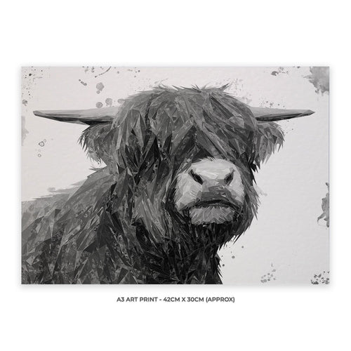 """Henry"" The Highland Bull (B&W) A3 Unframed Art Print"