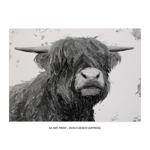 """Henry"" The Highland Bull (B&W) A4 Unframed Art Print"