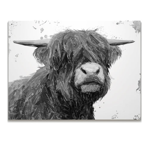 """Henry"" The Highland Bull (B&W) Skinny Canvas Print"