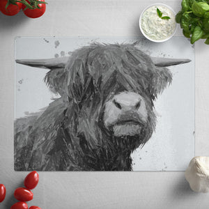"""Henry"" The Highland Bull (B&W) Glass Worktop Saver"