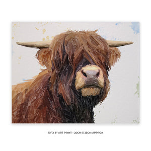 """Henry"" The Highland Bull 10"" x 8"" Unframed Art Print - Andy Thomas Artworks"
