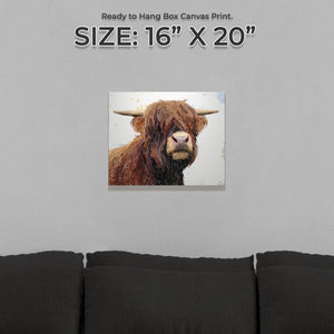 """Henry"" The Highland Bull Small Canvas Print - Andy Thomas Artworks"