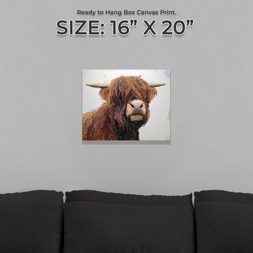 """Henry"" The Highland Bull Small Canvas Print"