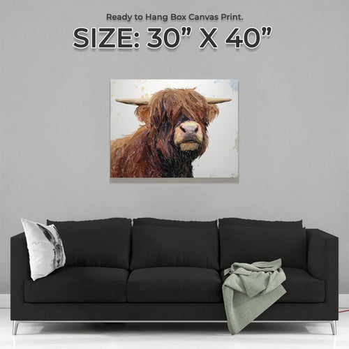 """Henry"" The Highland Bull Large Canvas Print"