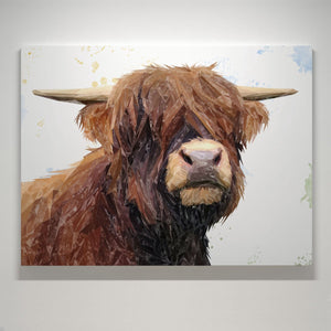 """Henry"" The Highland Bull Large Canvas Print - Andy Thomas Artworks"