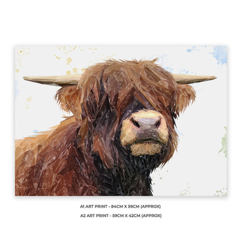 """Henry"" The Highland Bull A1 Unframed Art Print"