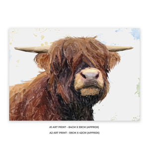 """Henry"" The Highland Bull A2 Unframed Art Print - Andy Thomas Artworks"