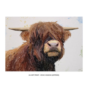 """Henry"" The Highland Bull A4 Unframed Art Print - Andy Thomas Artworks"