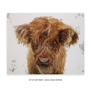 """Peeps"" The Highland Calf 10"" x 8"" Unframed Art Print - Andy Thomas Artworks"