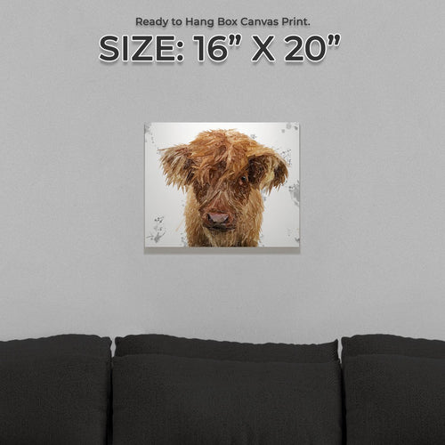 """Peeps"" The Highland Calf Small Canvas Print"