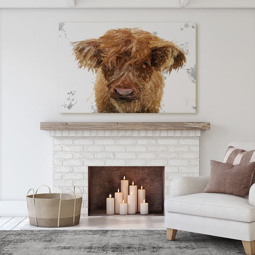 """Peeps"" The Highland Calf Massive Canvas Print"